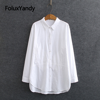 White Long Sleeve Blouse Shirt Women Oxford Shirts Pockets Loose Plus Size Casual Shirts Turn-down Collar KKFY4774 spring men long sleeve turn down collar single breasted shirts camisa solid color oxford pure cotton slim fit vestido shirts