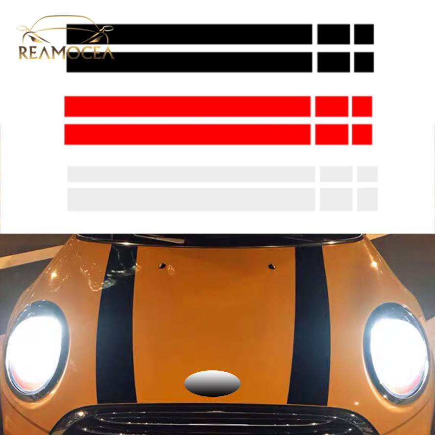 Reamocea 2Pcs dWm2754536 Black Red Vinyl <font><b>Car</b></font> Bonnet <font><b>Stripes</b></font> Hood Sticker Cover Decal Fit For <font><b>BMW</b></font> MINI Cooper R50 R53 R56 R55 image