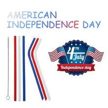 6 шт соломинки многоразовые силиконовые соломинки с кистью для Дня независимости вечерние соломинки