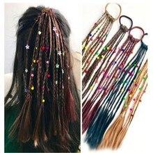 1 шт., Детский парик, косы, многоцветные мини-клипсы, Детские эластичные ленты для волос, милые аксессуары для волос, корейский стиль, веревка для волос