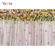 Yeele Wedding Ceremony 3D Flowers Curtain Ins Decor Photography Backdrops Personalized Photographic Backgrounds For Photo Studio