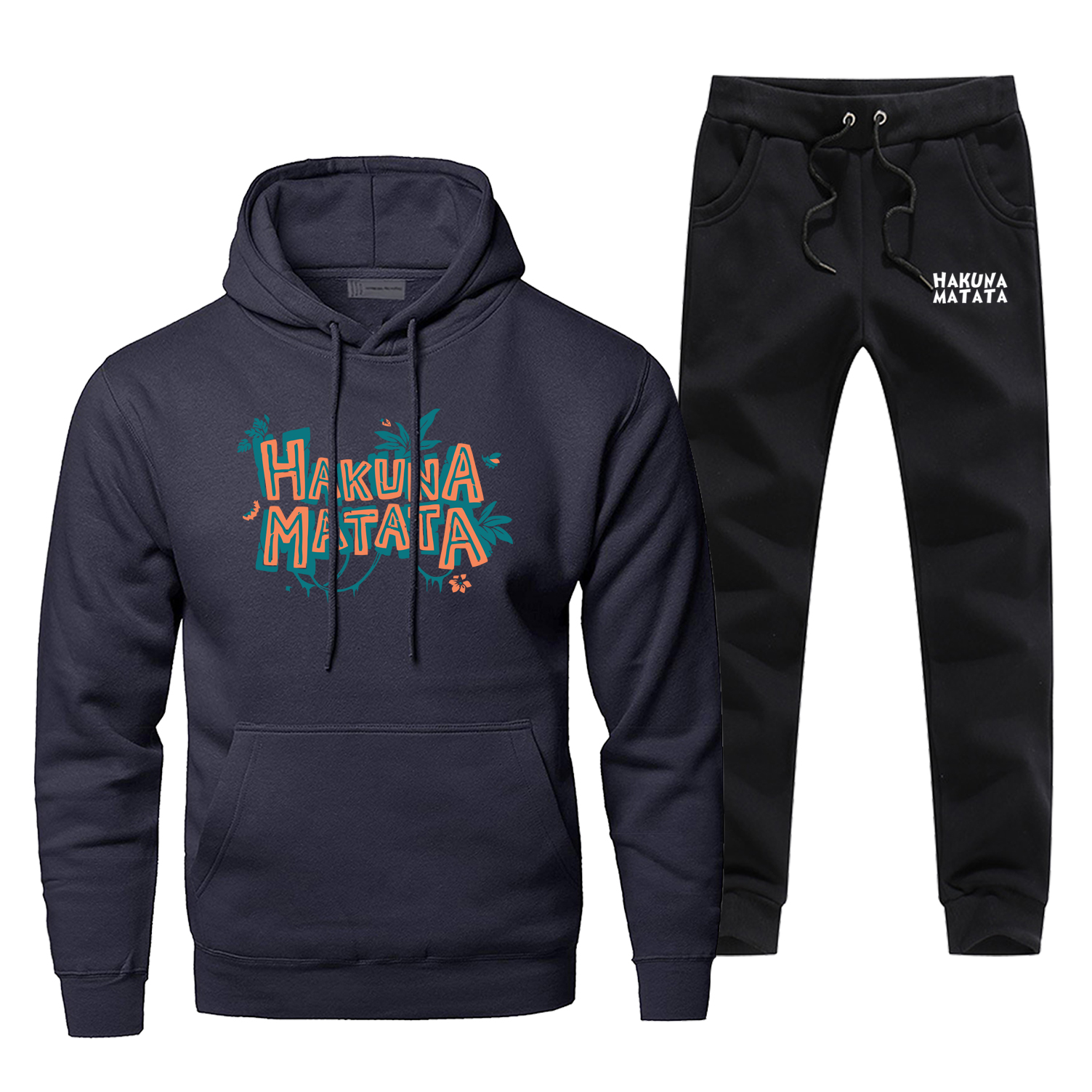 Hakuna Matata Fleece Hoodies Pants Sets Men Casual Lion King Sweatshirt Mens Fashion Harajuku Streetwea Sportswear Sweatpants