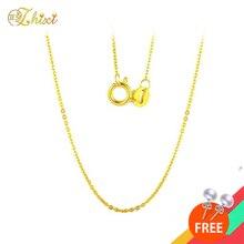 ZHIXI حقيقية 18K الذهب الأصفر الأبيض سلسلة 18K الذهب والمجوهرات 18 بوصة AU750 غرامة مجوهرات للنساء العصرية هدية عيد ميلاد D206