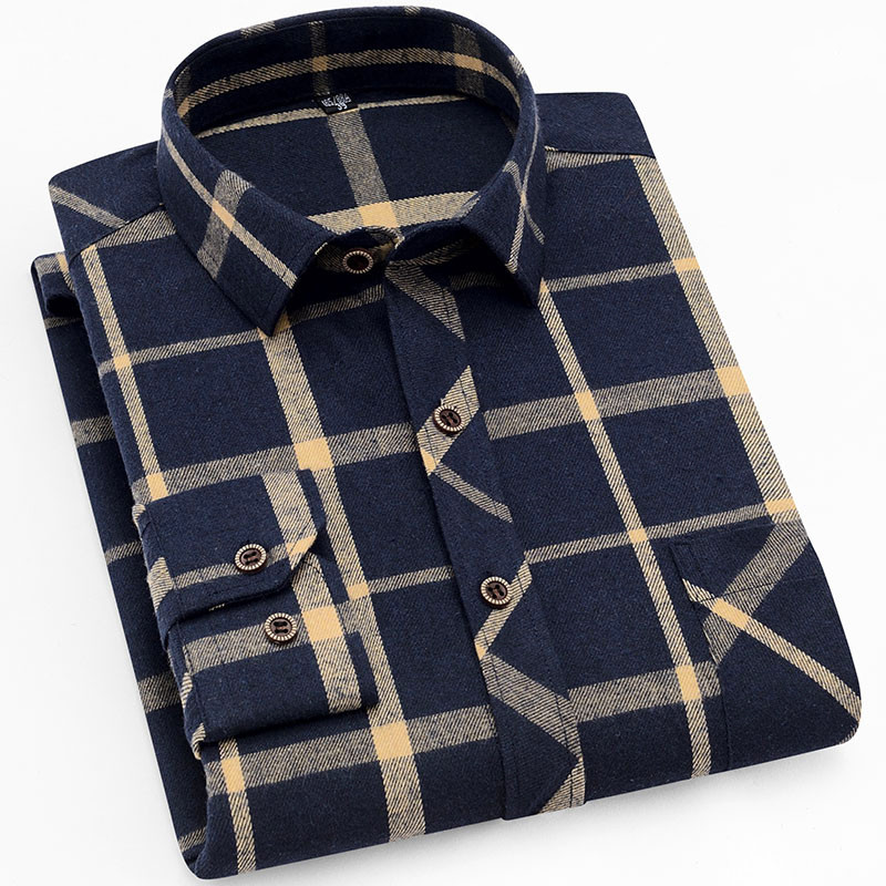 18 Colors 2019 Autumn Winter Warm Thick Mens Dress Shirt Casual Plaid Shirt Men  Brand Quality Cotton Social Business Shirt Men 26