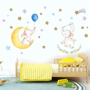 Lovely Animal Wall Sticker Beautiful Elephant Star Moon Dreamlike Wall Decoration For Girls And Baby Living Room(China)