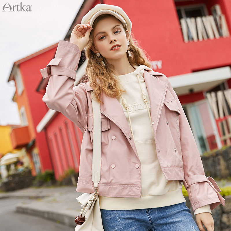ARTKA 2019 Autumn Winter New Women Jacket Fashion Pu Leather Jackets Pink Motor storm Loose Coat Casual Short Outwear YP10096Q image