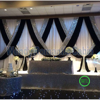 3M x 6M Black with White Wedding Backdrop with silver sequin stage swag wedding Decoration