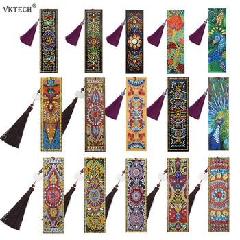 VKTECH 5D DIY Diamond Painting Leather Bookmark Tassel Book Marks Special Shaped Diamond Embroidery DIY Craft Hot Sale image