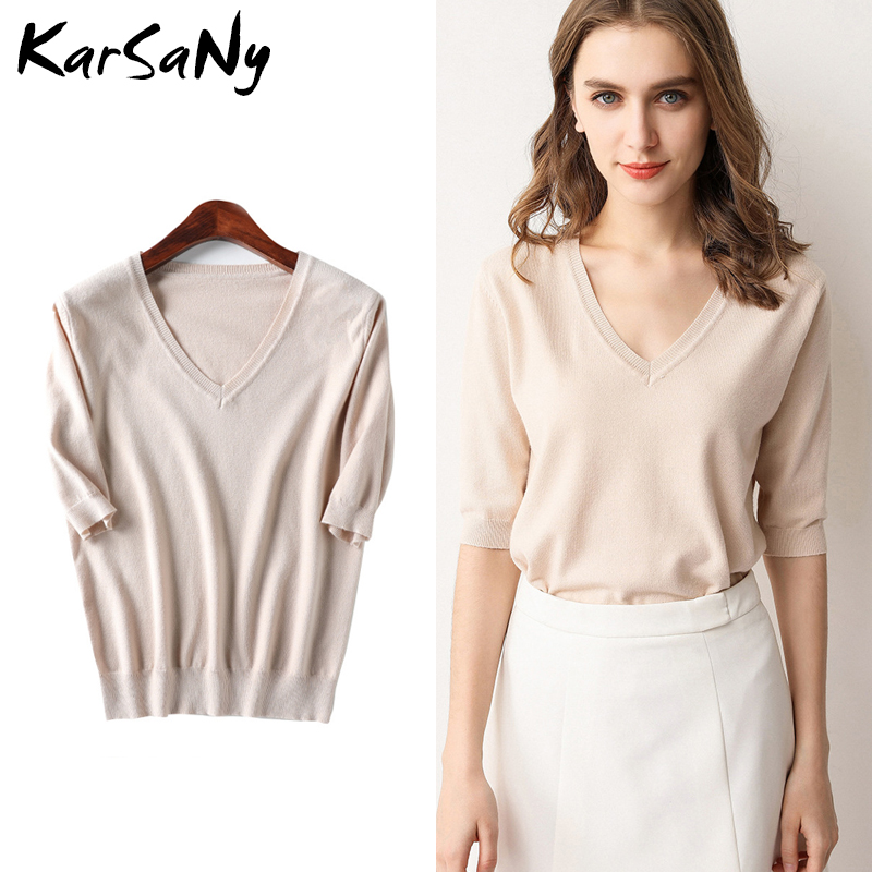 KarSany Half Sleeve Knitted Blouse Women Summer 2020 Ladies V-neck Blouses Blouse Knitted Womens Tops And Blouses Plus Size