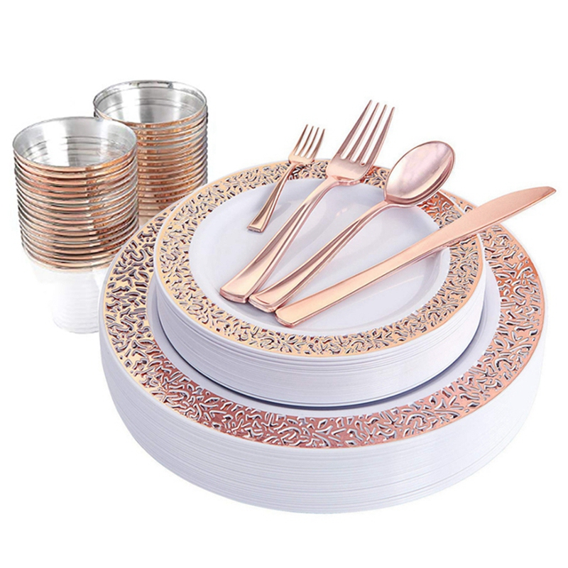 AFBC 1 Sets of Rose Gold Disposable Tableware Set Cup Plastic Plate Table Knife Wedding Banquet Supplies