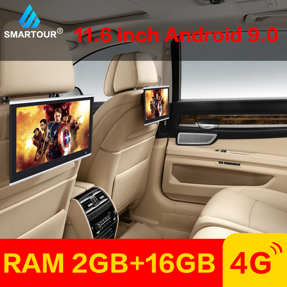 Smartour 11.6 Inch Car LED Pillow Headrest Monitor Back Seat Multimedia Player MP4 MP5 Mirror Link Detachable Touch Screen