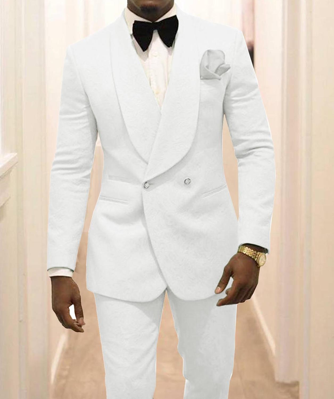 Custom Made Groomsmen White Pattern Groom Tuxedos Shawl Lapel Men Suits 2 Pieces Wedding Best Man ( Jacket+Pants+Tie ) C922