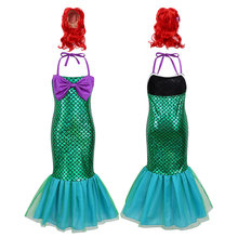 Kids Girls Sleeveless long tight dress Adjustable Halter Glossy Fish Scales Mermaid Dress Halloween Dress Up Cosplay Hair Wigs(China)