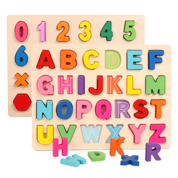 цена на Kids Educational Toy Alphabets Digital Jigsaw Puzzle Wooden Montessori Toy Colorful Puzzle Board Preschool Learning Toys