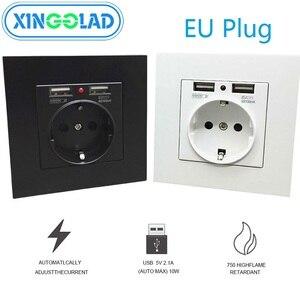 Image 1 - איחוד אירופי תקע USB הכפול טעינת יציאת 5V 2.1A LED מחוון 16A קיר שקע חשמל שקע שקע מחשב לוח מעוגן להבת מעכב 86mm