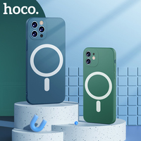 HOCO-funda magnética de silicona líquida para teléfono móvil, carcasa trasera suave para iPhone 12mini 13 12 Pro Max, 11 Pro Max