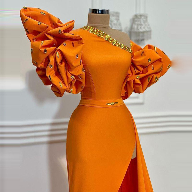 Orange One Shoulder Prom Dresses 2021 Summer Puff Short Sleeves Sexy Side Slit Evening Dress Cheap Satin Cocktail Party Gowns 2