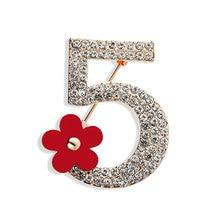 Broches de marca de lujo con letras 5, broche de diamantes de imitación de cristal completo, broches para mujer, broches de número de flores de fiesta