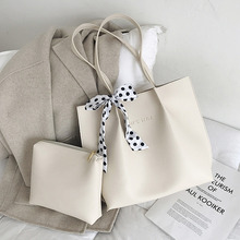 2pcs Set Women Totes Shoulder Bag Soft PU Leather Composite Bag with Bow Large Capacity Ladies Handbag Bolso Mujer Grande