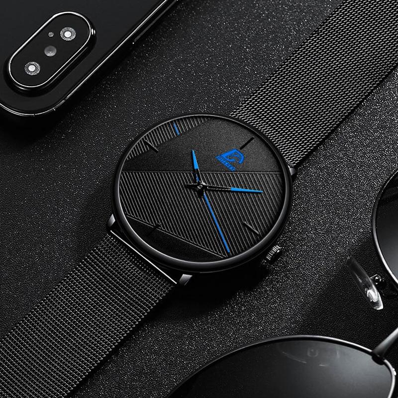 reloj hombre 2021 Fashion Watches Men Classic Black Ultra Thin Stainless Steel Mesh Belt Quartz Wrist Watch relogio masculino 5
