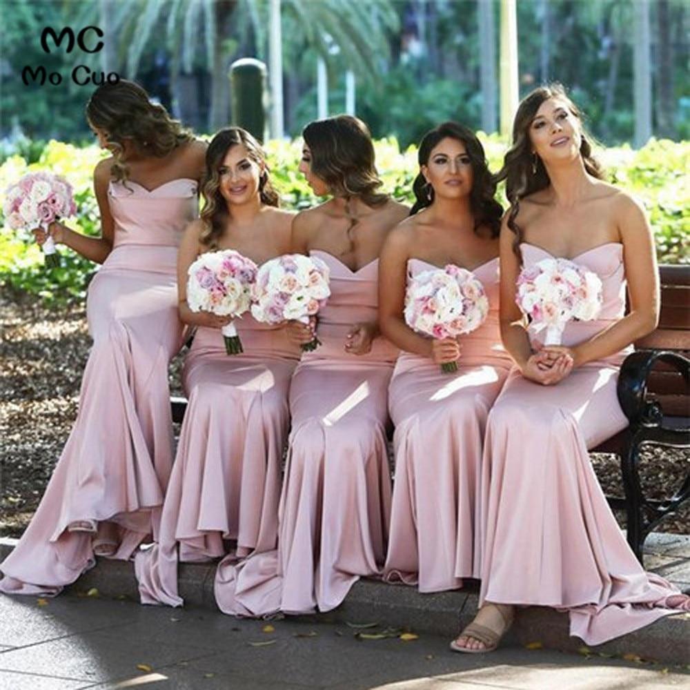Gallery 2019 Mermaid Bridesmaid Dresses Long Wedding Party Dress Sweetheart Satin Prom Bridesmaid Dresses For Women