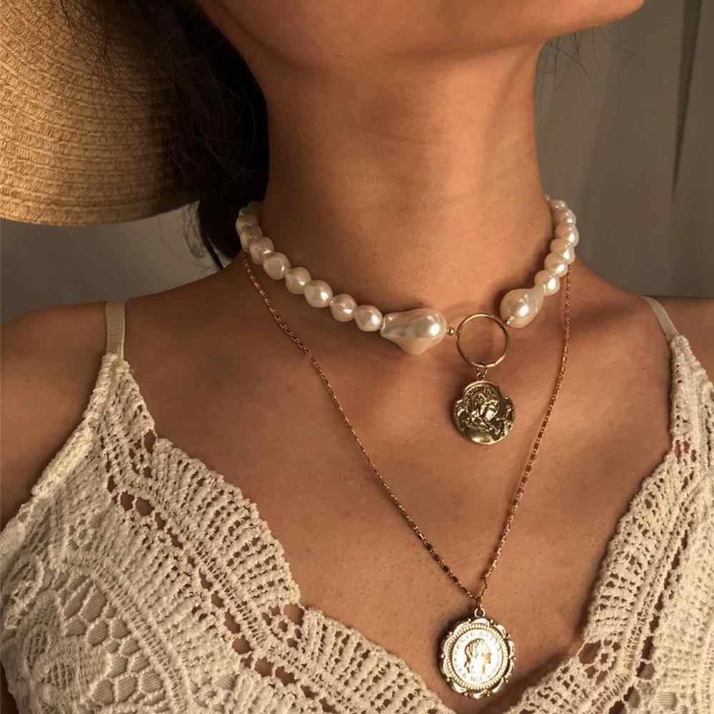 DIEZI Baroque Pearl Vintage Beach เหรียญจี้สร้อยคอผู้หญิงแฟชั่นสร้อยคอ Choker เครื่องประดับ