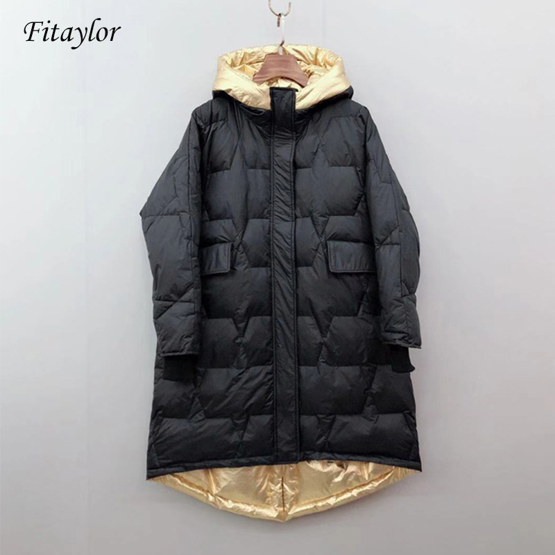 Fitaylor 2019 New Winter Down Jacket Women Zipper Loose Down Long Coat White Duck Down Parkas Female Warm Snow Outwear