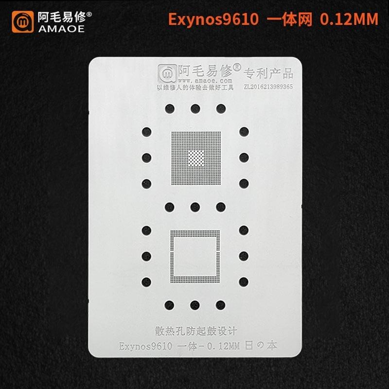 Трафарет BGA для Samsung Exynos 9610, реболлинг процессора, посадка, Оловянная сетка, ремонт трафарета BGA Сварочные флюсы      АлиЭкспресс