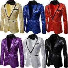 Men Tuxedo Suit Bling Sequins One Button Party Coat Blazer Gentleman Jacket HOT