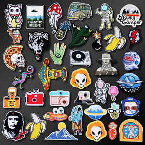 Bomb Lightning Camera Patch for Clothing Iron on Embroidered Sewing Applique Cute Sew On Fabric Badge DIY Apparel Accessories