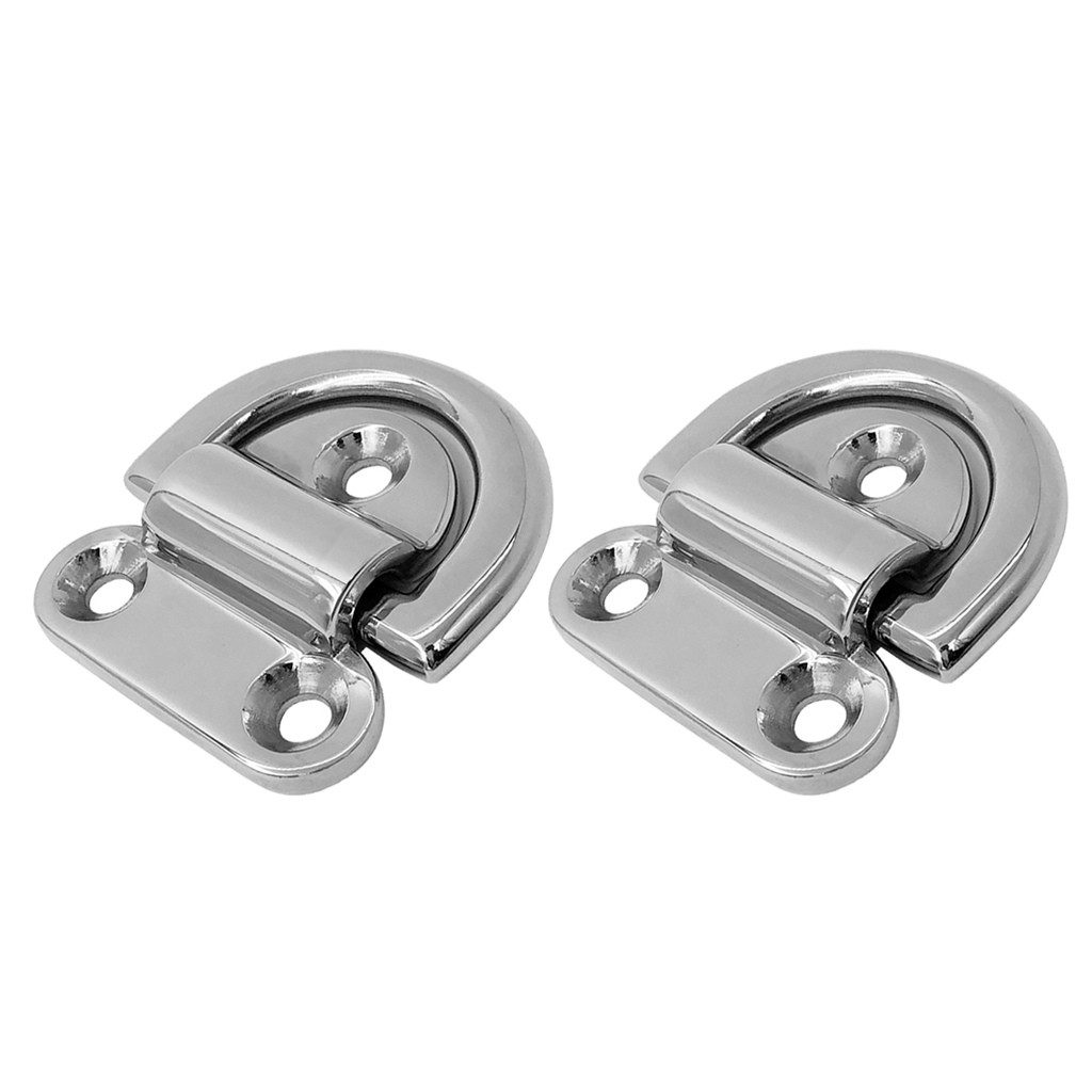 316 Stainless Steel perfk 2 Pieces Large Folding Pad Eye Lashing D Ring Tie Down Anchor Point Marine Trailer Truck