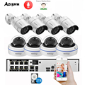 AZISHN H.265+ 8CH 5MP POE NVR Kit Audio CCTV System 5MP Dome IP Camera Face Detection P2P Indoor/Outdoor Video Surveillance Set
