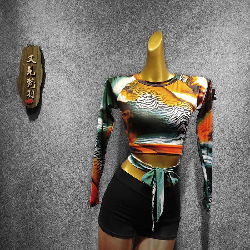 Leopardo Top de baile latino traje de Pole dance Ropa de baile mujer baile vals Ropa de baile