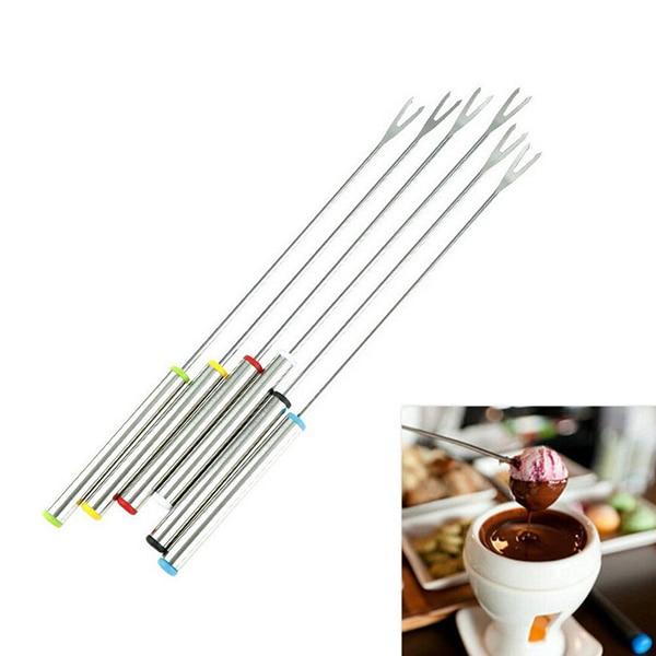 Lote de 6 unidades de tenedor de acero inoxidable para Chocolate, tenedor para olla caliente, tenedor de postre, fruta, Fondue, pincho de fusión, utensilios de cocina