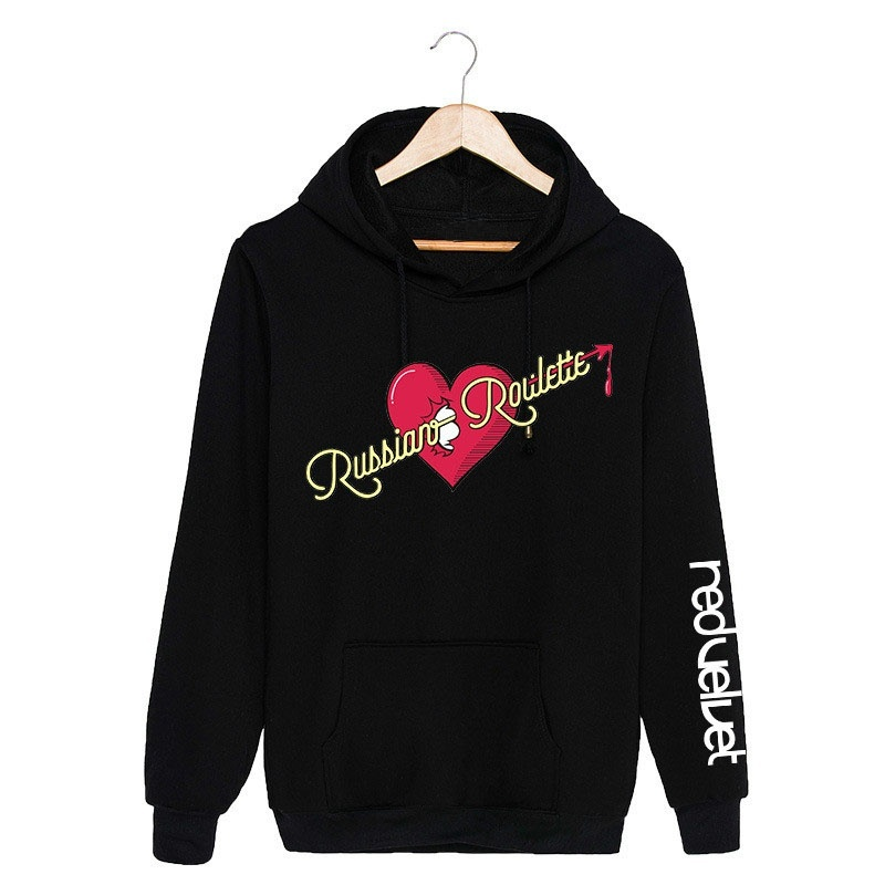 BomHCS Red Velvet RUSSIAN ROULETTE Women's Cotton Printed Hoodies Kpop Star Fashion Hip Hop Pullover Sweater Sport Outwear