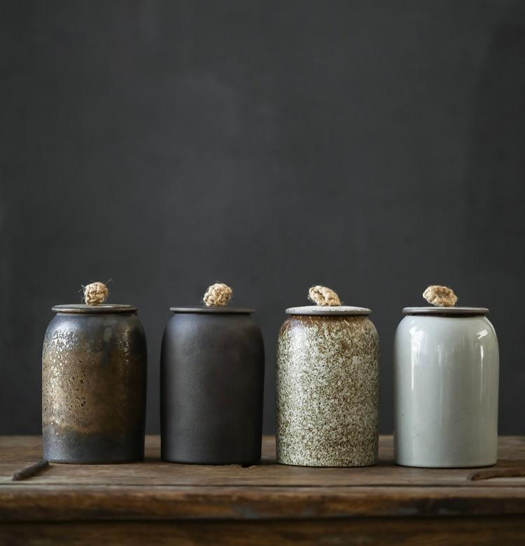 LUWU Japanese Ceramic Tea Caddies Porcelain Tea Canisters Storage Tea Or Food