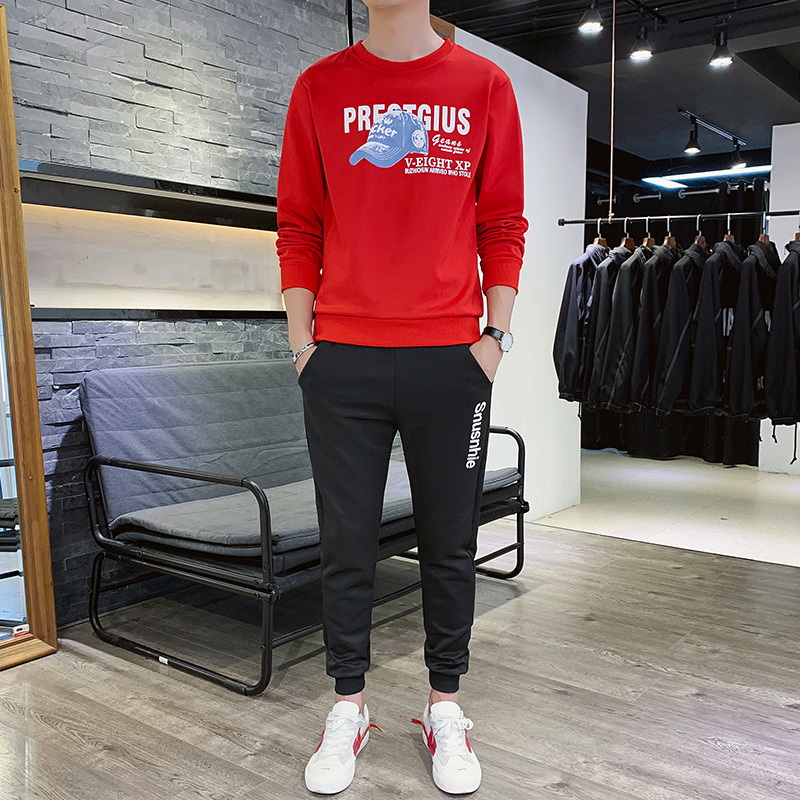 2019 Autumn & Winter Men Sports Leisure Suit Men's Trend Korean-style Crew Neck Hoodie Suit Men's
