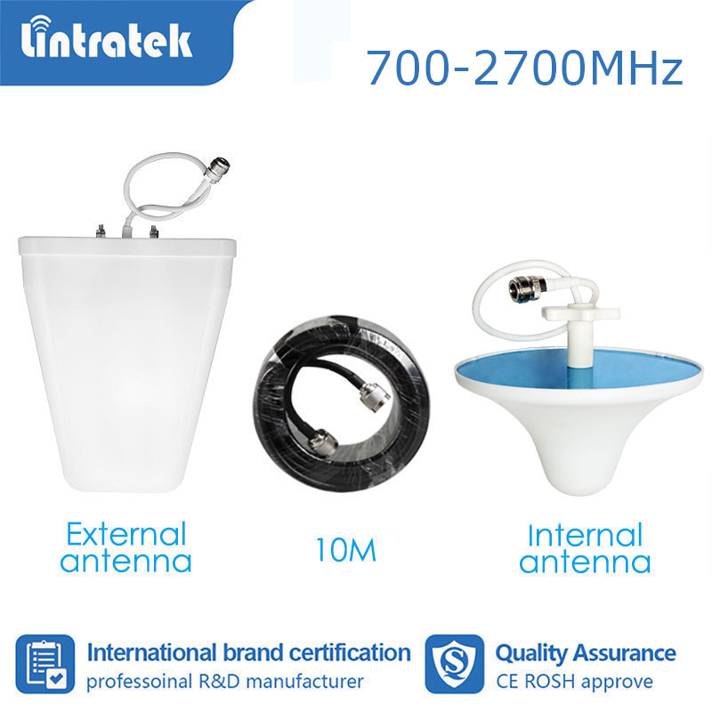 Lintratek Full Set Booster Accessories Antenna For Signal Booster Amplifier GSM 2G 3G 4G 850 700-2700mhz 10 Meter Cable  S4