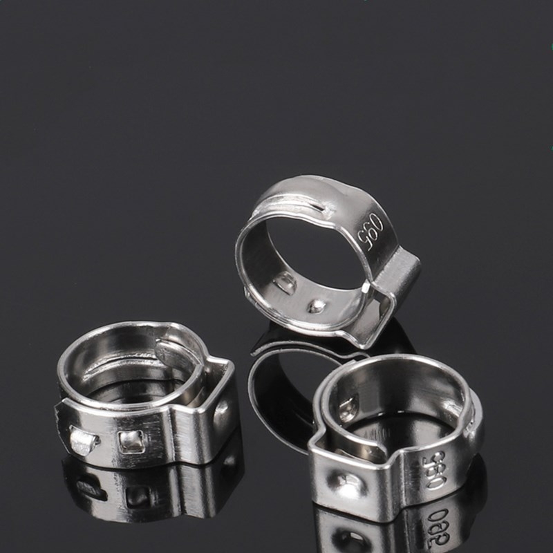 Free shipping Pipe Clamp High Quality 500 PCS Stainless Steel 304 Single Ear Hose Clamps Assortment Kit Single