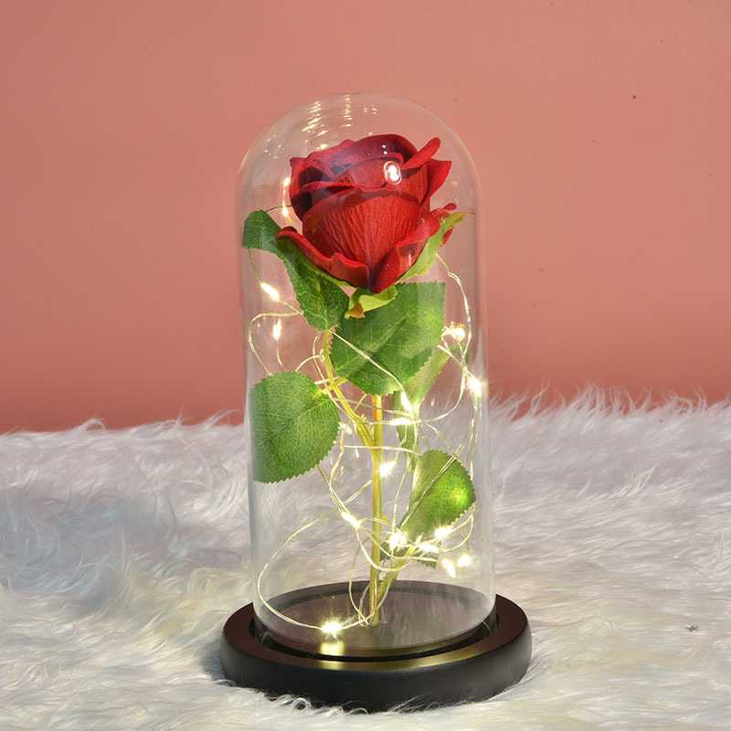 Rose In Glass  Led Night Light Beauty And The Beast Little Prince Valentine's Day Gift artificial flower|Artificial & Dried Flowers| |  -
