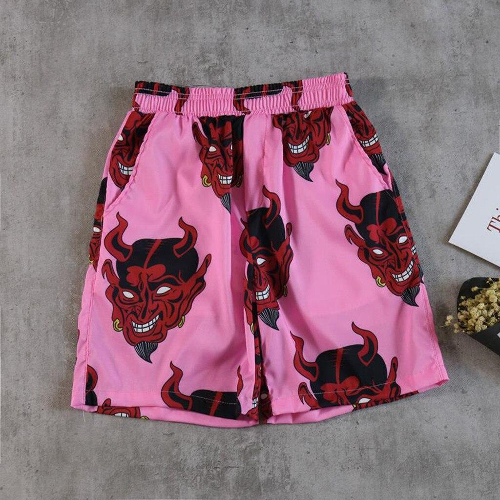 Шорты мужские/женские с принтом дьявола, уличная одежда унисекс в стиле хип-хоп, гавайская пляжная одежда с эластичным поясом, летние в стил...