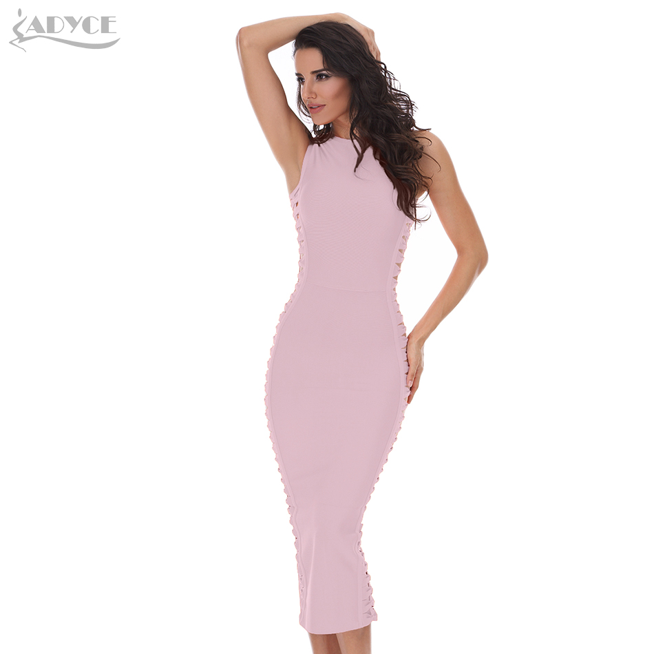 ADYCE 2019 New Summer Blue Celebrity Evening Party Bandage Dress Vestidos Sexy Hollow Out Blue Bodycon Women Runway Club Dress