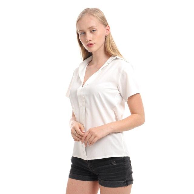 Camisa de talla grande 2019 para mujer, cuello en V profundo, sólido corto de manga, camisas casuales de moda para mujer, Tops de verano, Blusas formales de oficina 3