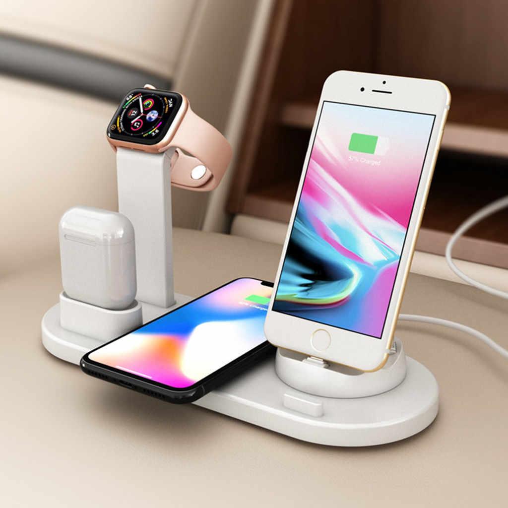 10W bezprzewodowa ładowarka qi stacja dokująca 4 W 1 dla Iphone Airpods Micro rodzaj usb C stojak szybkie ładowanie 3.0 dla Apple Watch Charger