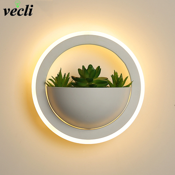 Nordic plant wall lights Creative bedside bedroom sconce simple modern living room aisle lamp Indoor Decoration LED wall lamp nordic simple living room wall lamp bedroom bedside lighting creative aisle background crystal glass wall sconce light fixture