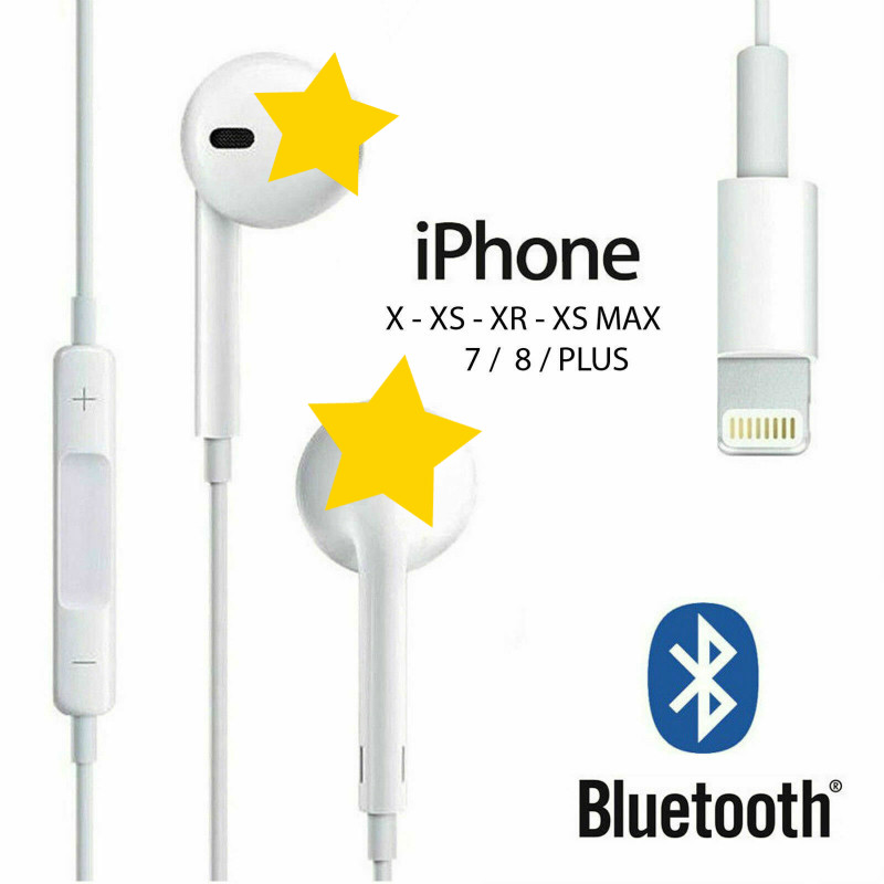 Vieruodis Wired Headphones With Microphone Copper Loop Stereo Control For IPhone 8 7 Plus X XR XS Max