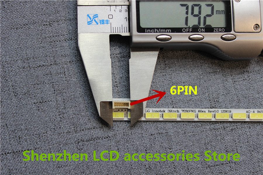 2piece/lot FOR   60LED Strip 7030PKG 60ea Rev0.0 73.39T03.003-0-JS1 FOR T390HVN01.0   6PIN  LG  39inch  487MM  100%NEW