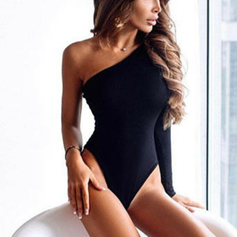 Women Solid One Shoulder Long Sleeve Bodysuit