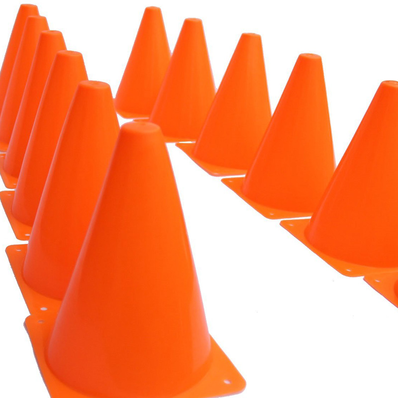 12Pcs 18cm Dazzling Toys Traffic Orange Cones Marker Course Football Riding Excercise Supplies FO Sale