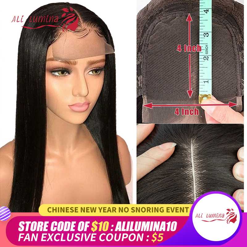 Ali Lumina 4X4 Peruvian  Straight Human Hair Lace Wig Remy Hair Wig With HairLine Natural Color 10-30 Inch Density 180%